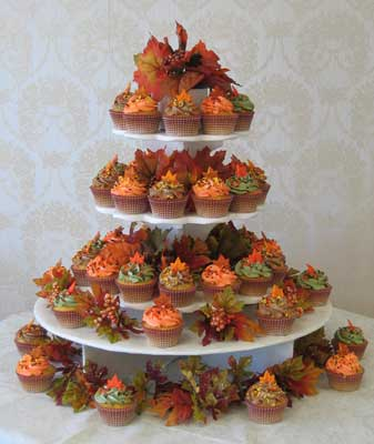 Fall wedding cupcake tree for Ideas for thanksgiving cupcake decorations